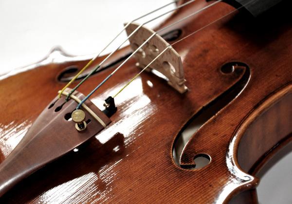 closeup of front of a 909 violin