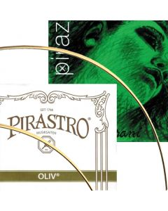 Oliv and Evah Pirazzi violin string closeup of Goldsteel strings and packaging