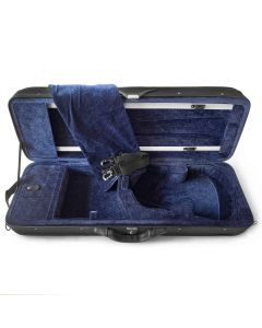 Fiddleheads Midrange Oblong Case with blue interior and suspension with straps and blanket