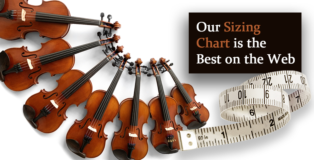 Many sizes of violins with a tape measure and caption