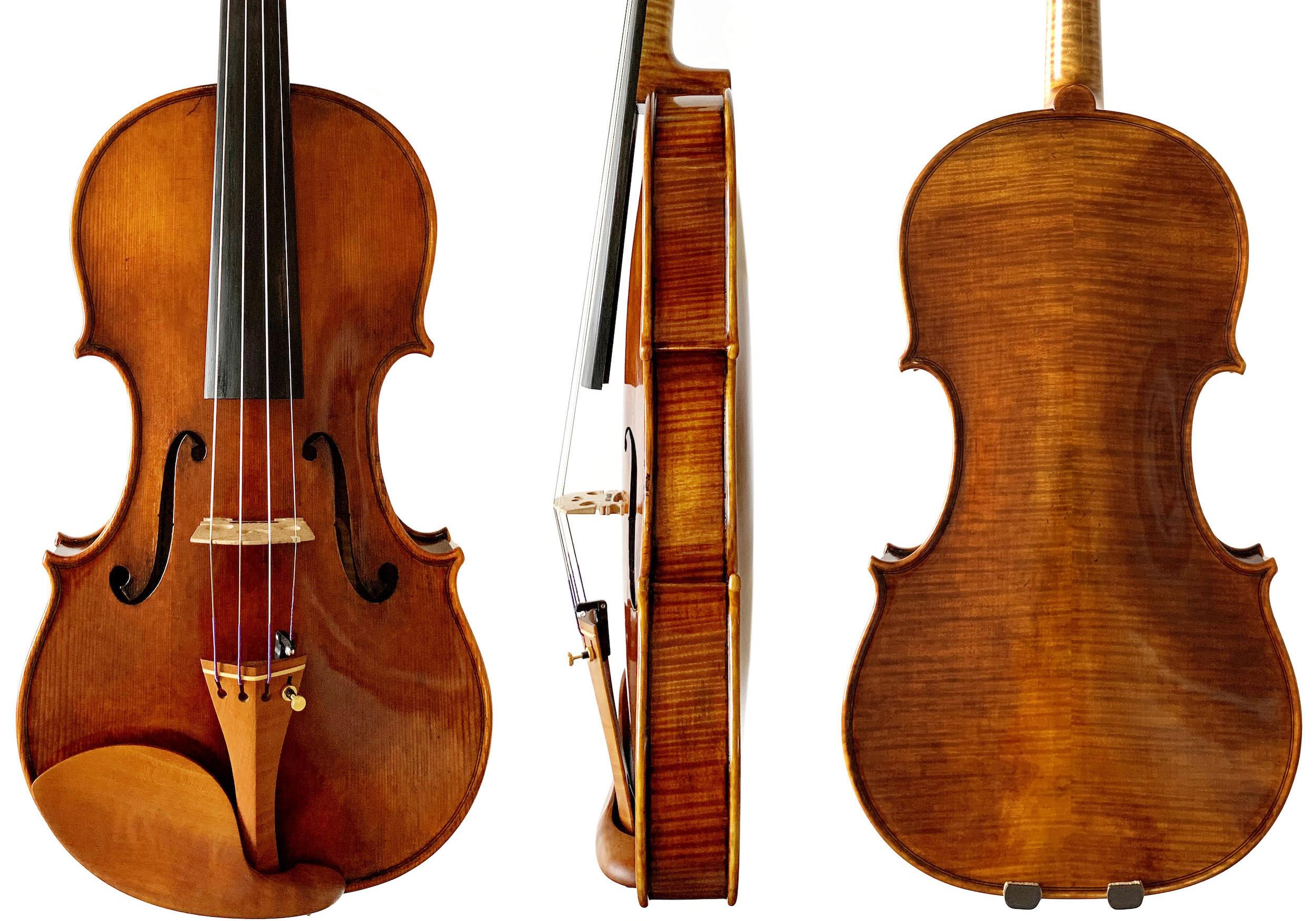 Dimitrov violin front, side and back
