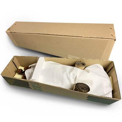 Cardboard shipping boxes for violins with padding