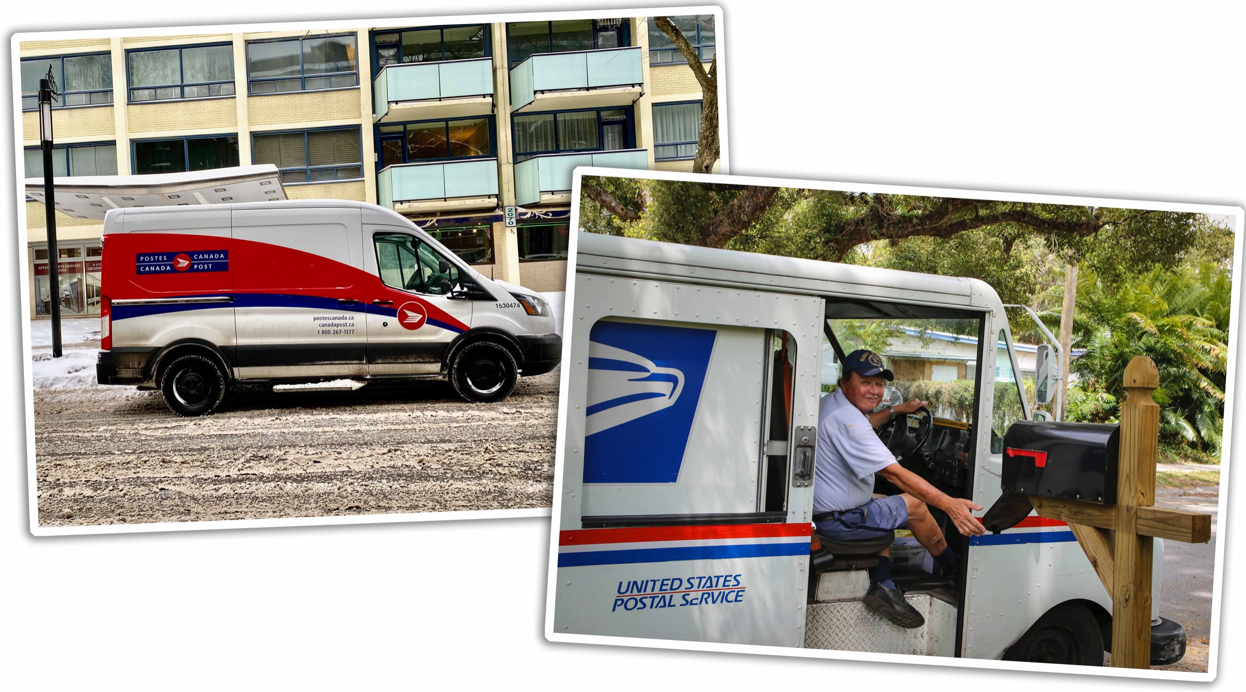 Canada Post and US Mail Delivery trucks